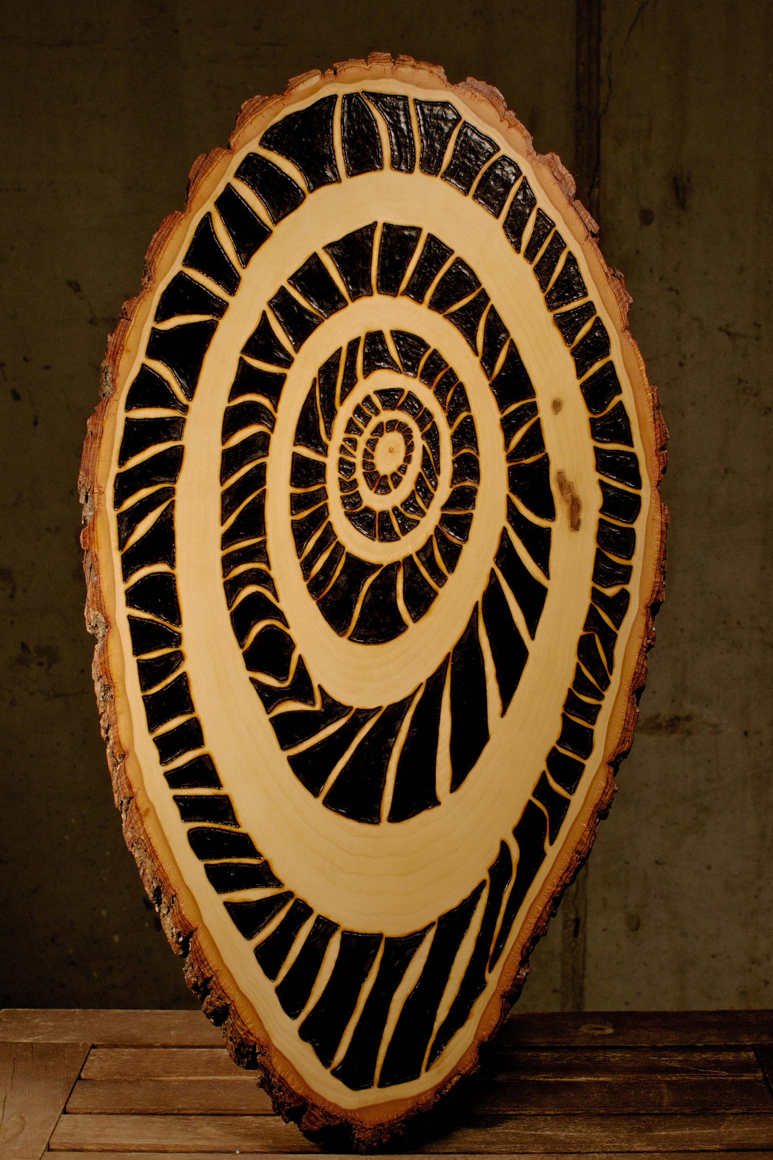 Time (2016)   Wood Burning on Bass Wood Bark Slab   19 ½ in x 1 in x 10 in   $300.00    For Inquiry Email bzartsgallery@gmail.com