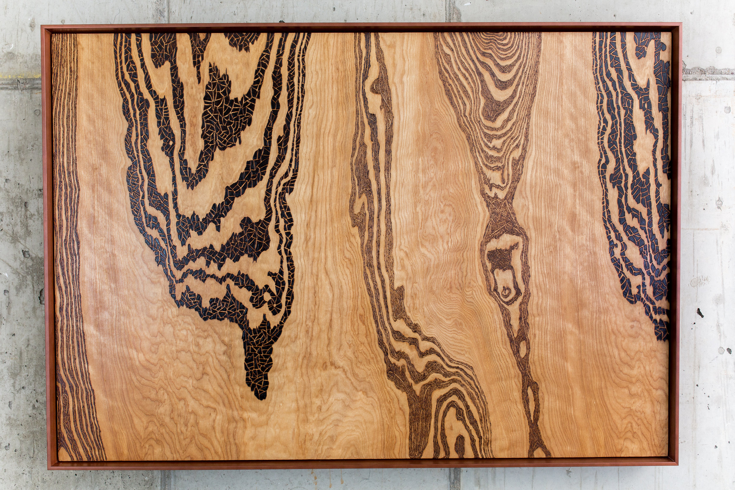 Inner Workings Of The Underground  (2015)  Wood Burning on Maple Wood 33 in x 1 in x 48 in $1,800.00