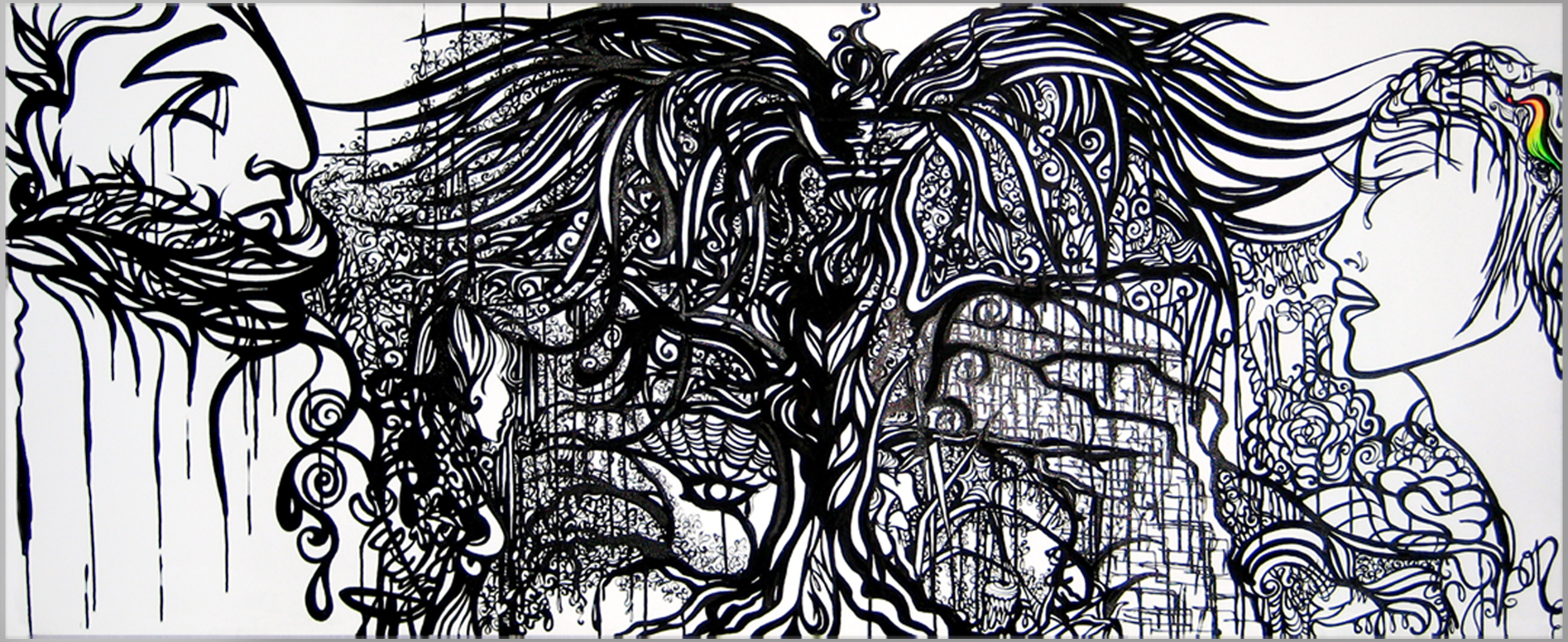"""""""I'm Sorry""""    India Ink on Canvas   6'x2'   2008"""