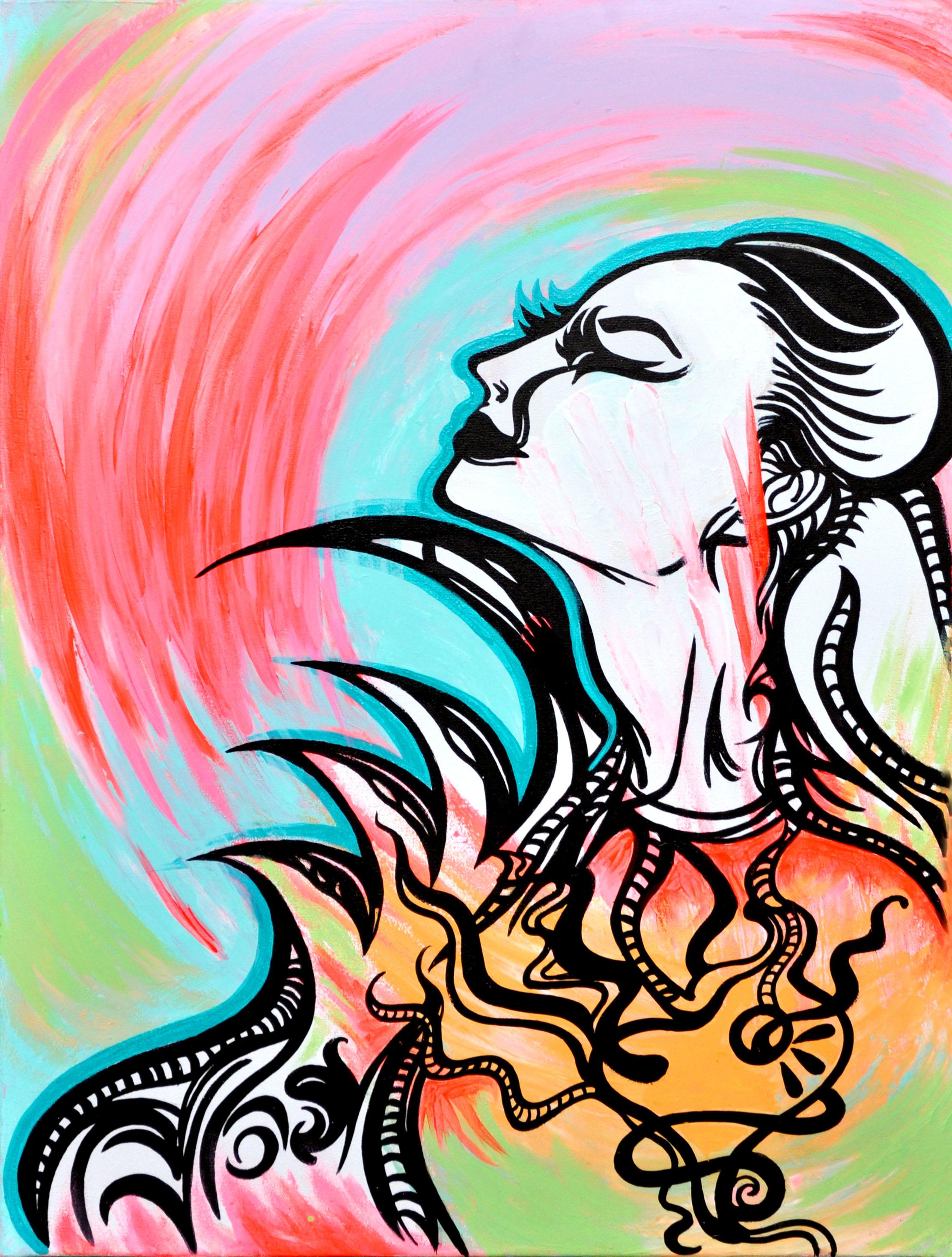 Sarah Castle    India ink and acrylic on canvas   2'x3'   2010