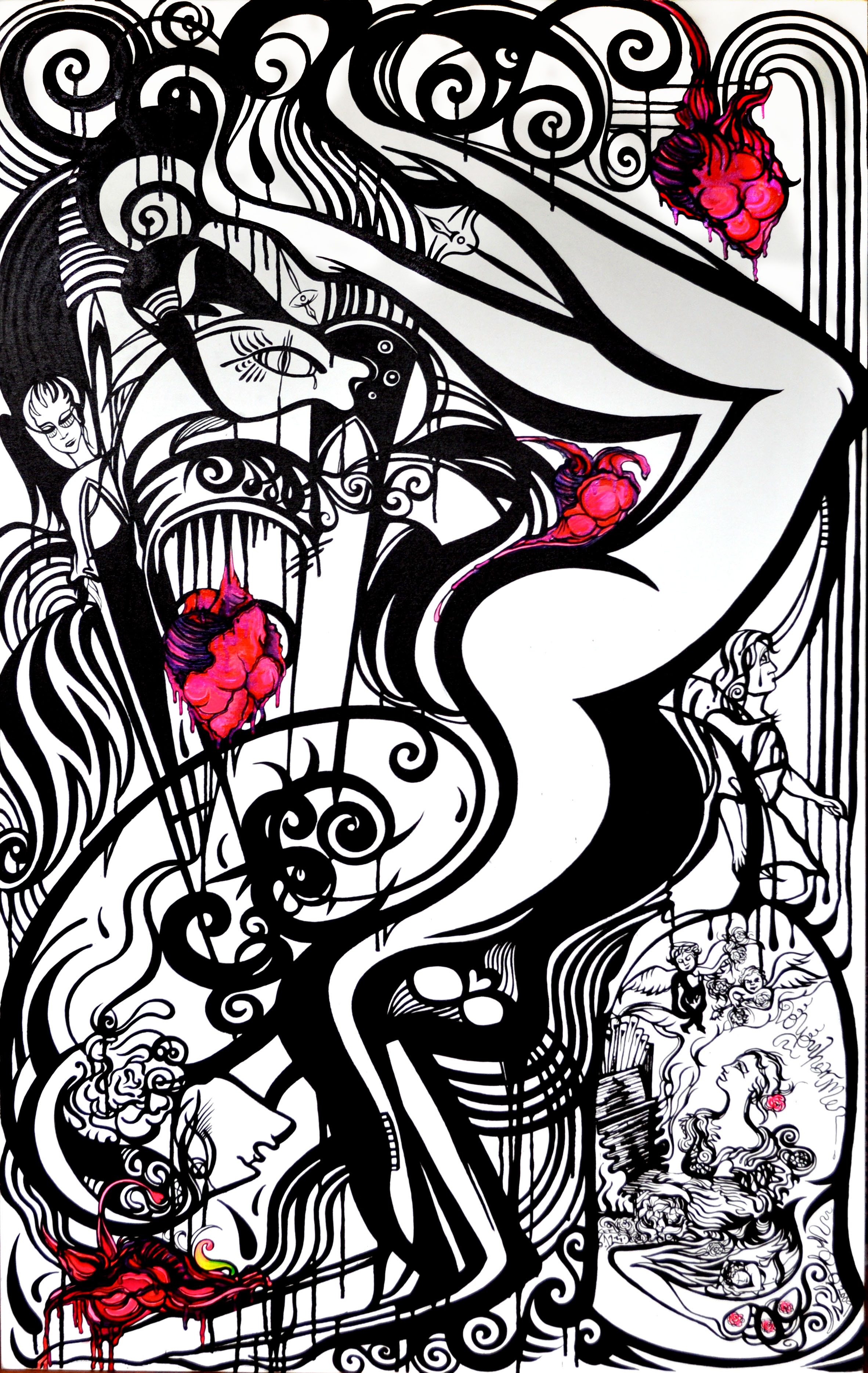Grand Piano    India Ink & Gouache on Canvas   4'x6'   2010