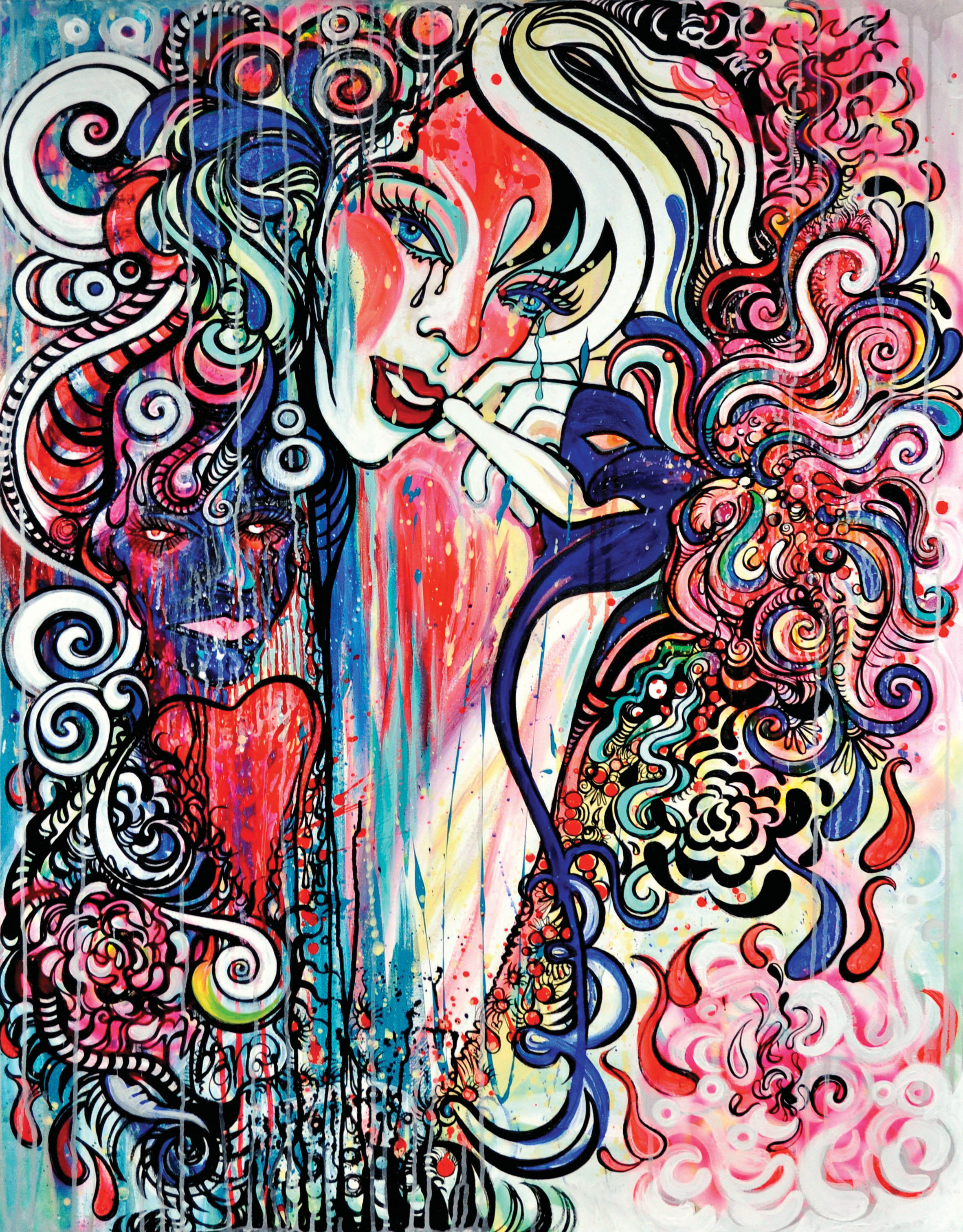 Love    Ink and Gouache on Canvas   4'x5'   2010