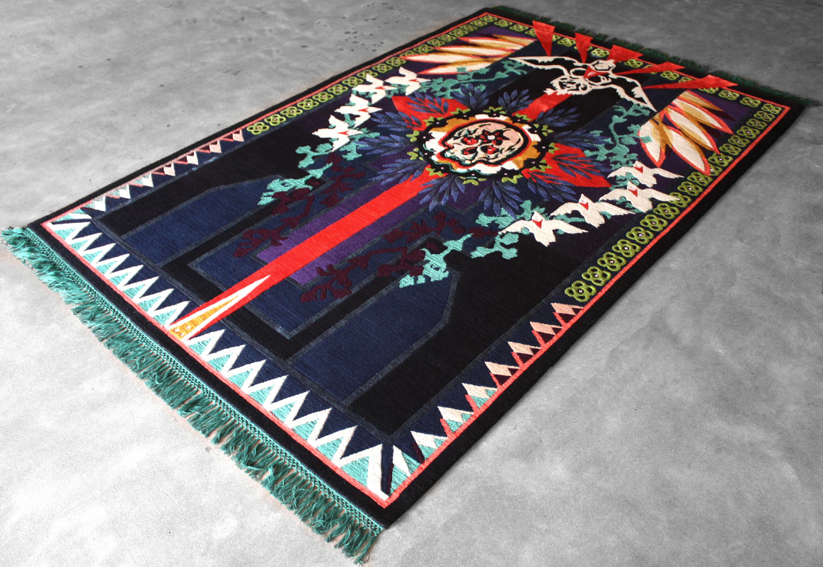 Prayer Rug  | This original 1/1 edition of this rug was detailed in Swarovski crystals | Wool & Silk | 5'x7' | 2013