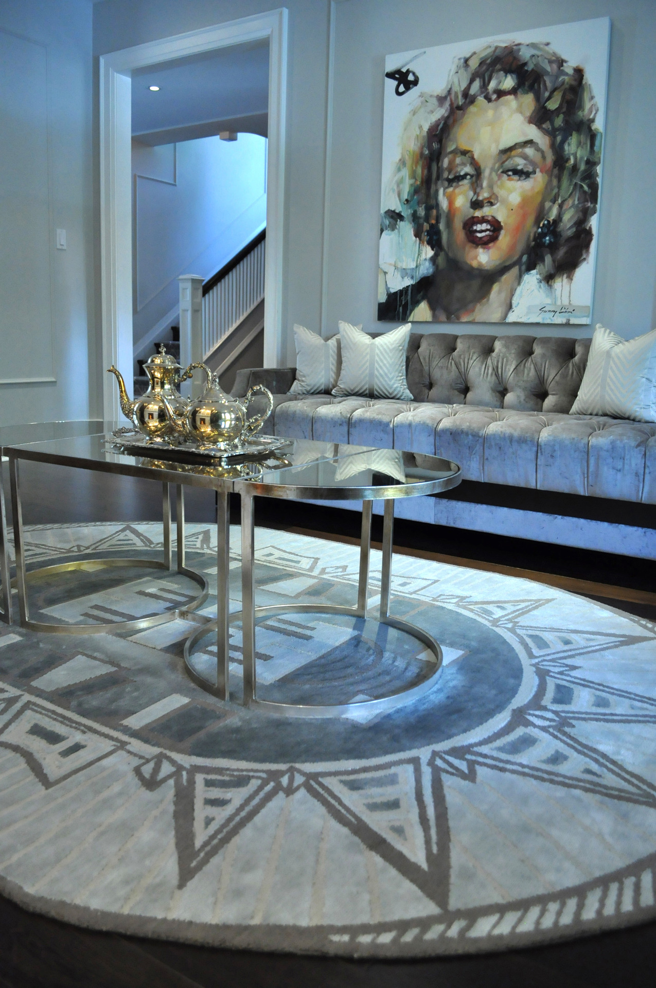 Custom rug for a client in Rosedale Toronto | Inspired by the Chrysler Building | Hand knotted in 100% silk | 2012