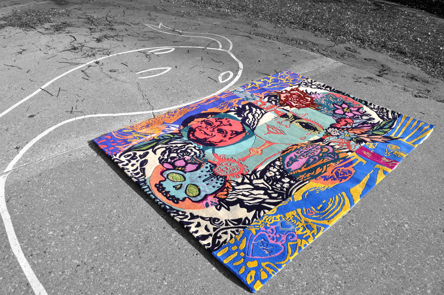 This vibrant tribute to  Frida Kahlo  is a 5'x7' hand knotted rug. A limited edition produced in 2016. Hand knotted in Nepal in wool, silk and hemp.