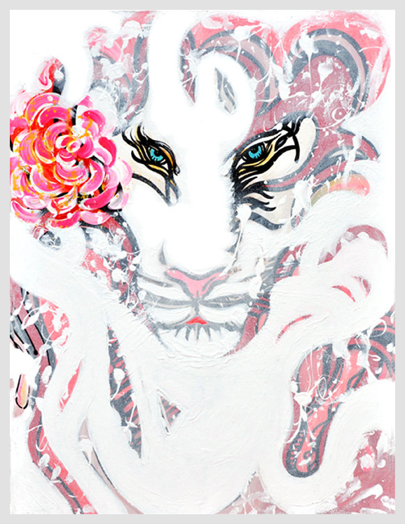 Tiger Eyes    Ink and Acrylic on Canvas   2'x3'   2010
