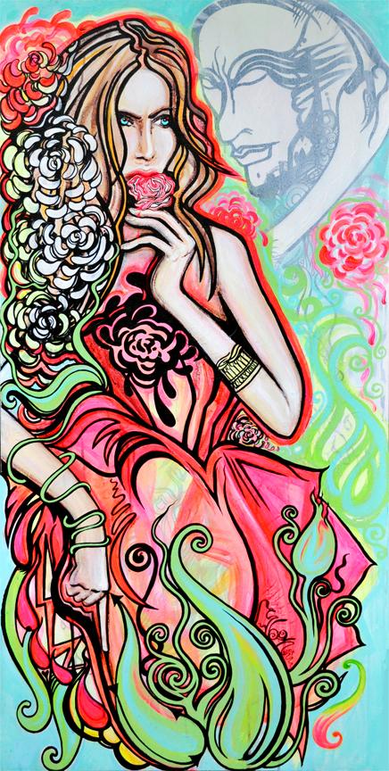 Beauty and the Beast    Gouache and Acrylic on Canvas   2'x5'   2010