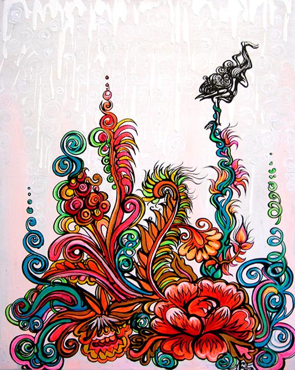 Falling in Love    Ink & Acrylic on Board   2'x3'   2008