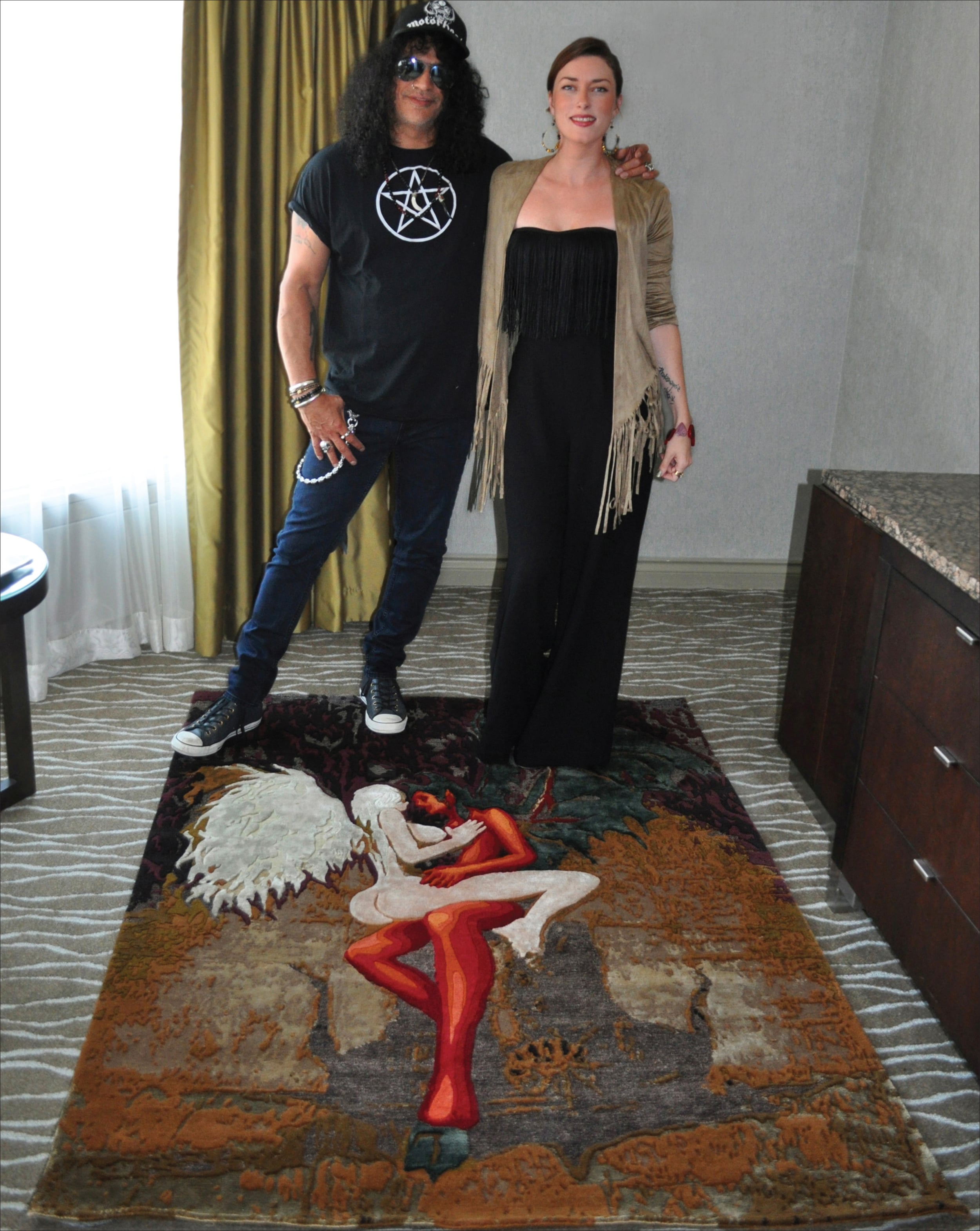 Robyn & SLASH with  Apocalyptic Love Rug  | Edition 1/1 | Wool, Bamboo & Hemp | Hand knotted in Nepal | 5'x7' | 2015