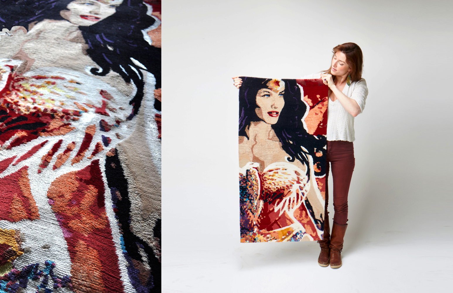 Wonder Woman  | This 2'x4' tapestry is hand-knotted in wool, bamboo and hemp; her eyes are detailed in Swarovski crystals | Handmade in Nepal | 2013