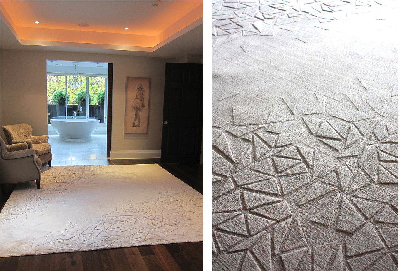"The Quartz Rugs  | Designed for a master bedroom and an adjacent sitting room for a client in Rosedale Toronto | The ""crystals"" have been hand carved at different pile heights in 100% silk 