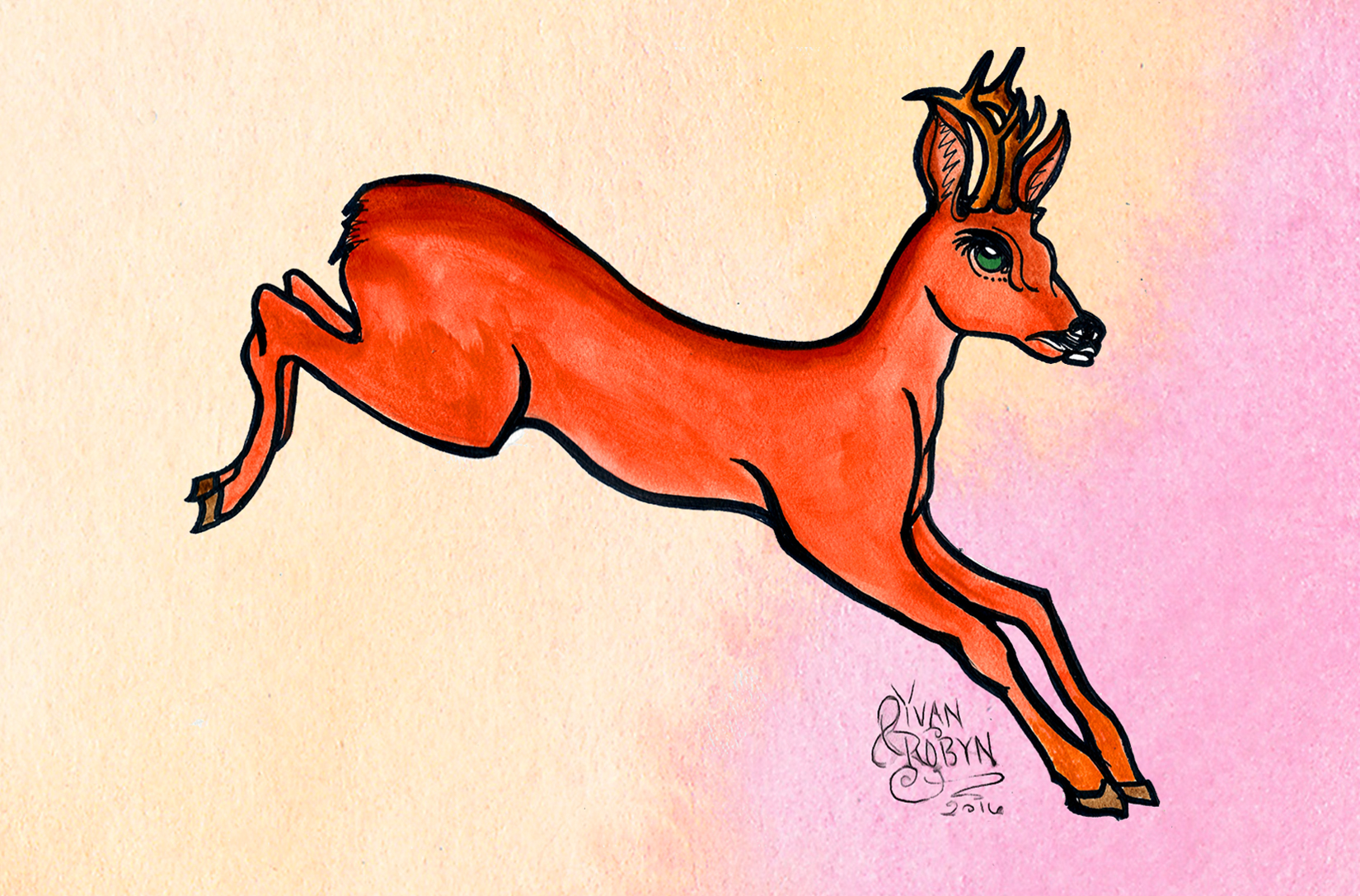 Red Deer Totem Animal  | Custom illustration for Yvan & Robyn's wedding | 2016