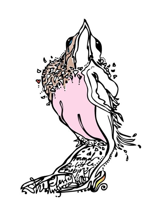 A little Robin flew away    Digital illustration  2012
