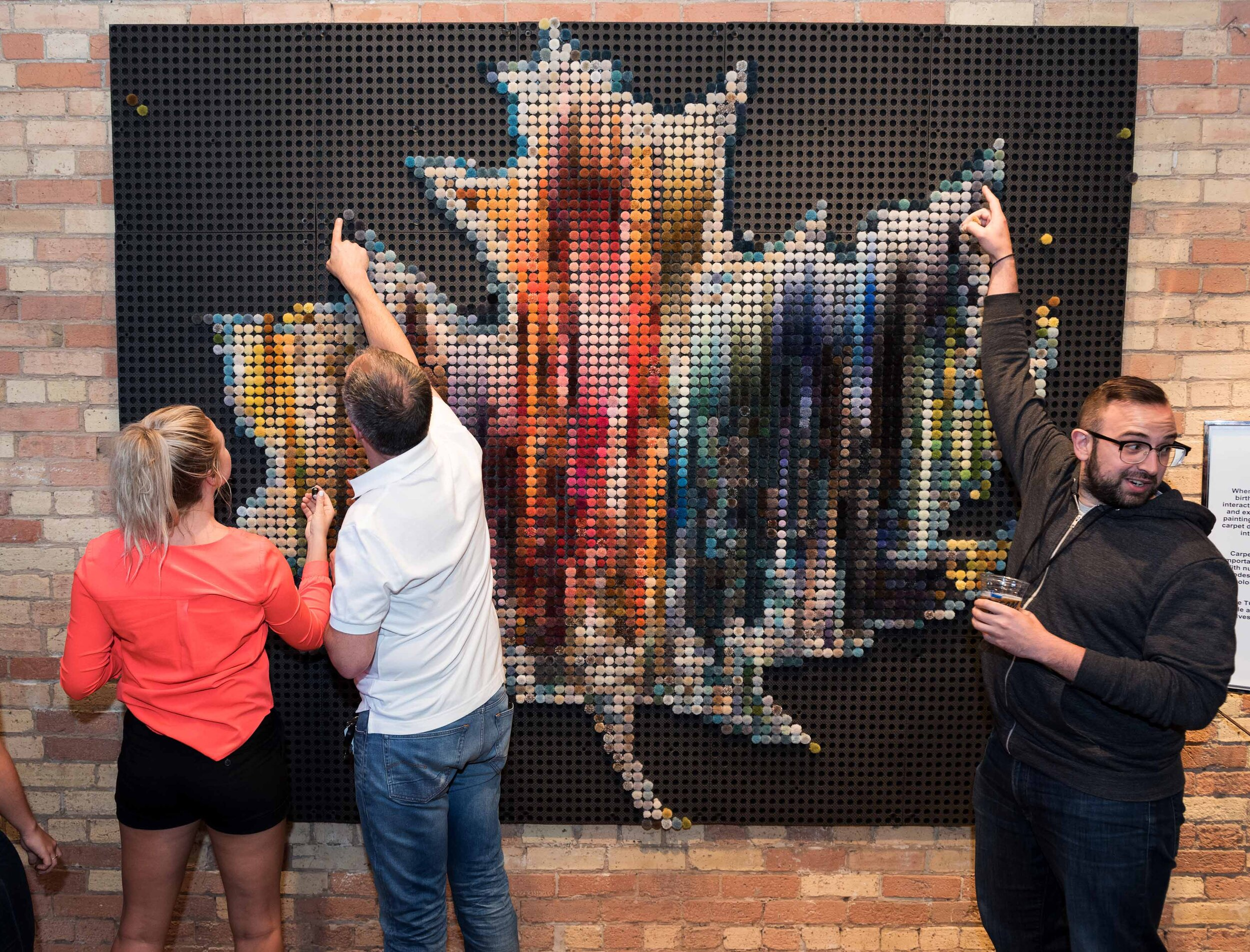 Canadian Leaf  | Interactive art installation commissioned by Heritage Properties for Canada 150 celebrations | Part of Toronto Carpet Factory's permanent art collection| Made from 6000 carpet poms | 2017