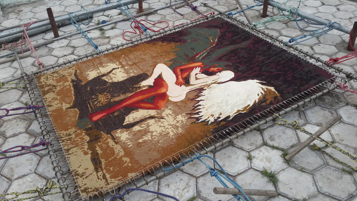 Apocalyptic Love rug being stretched in Nepal - final drying stage | 2015