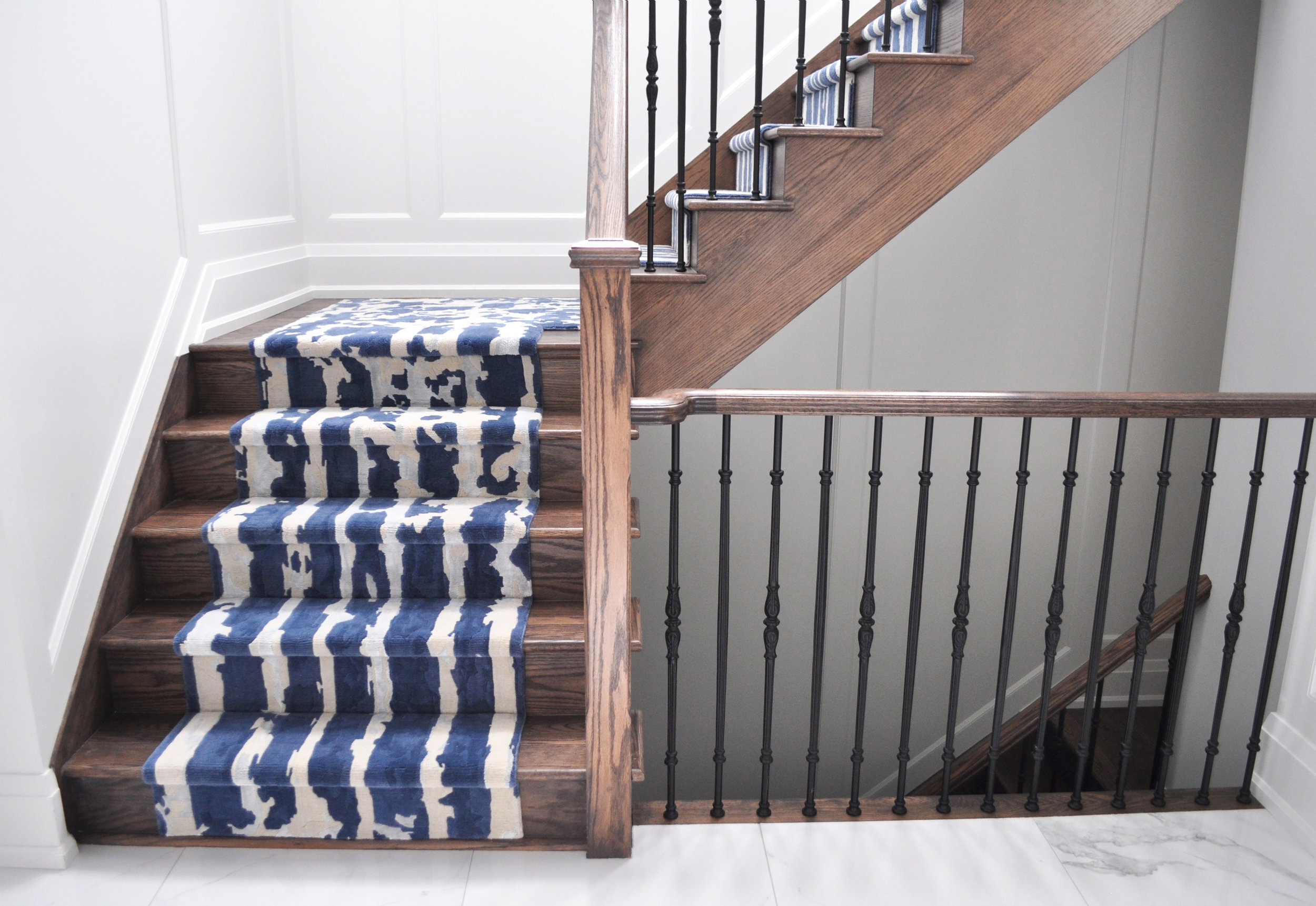 Waterfall  | Custom stair runner for a client in King City | Wool & Silk | 2017