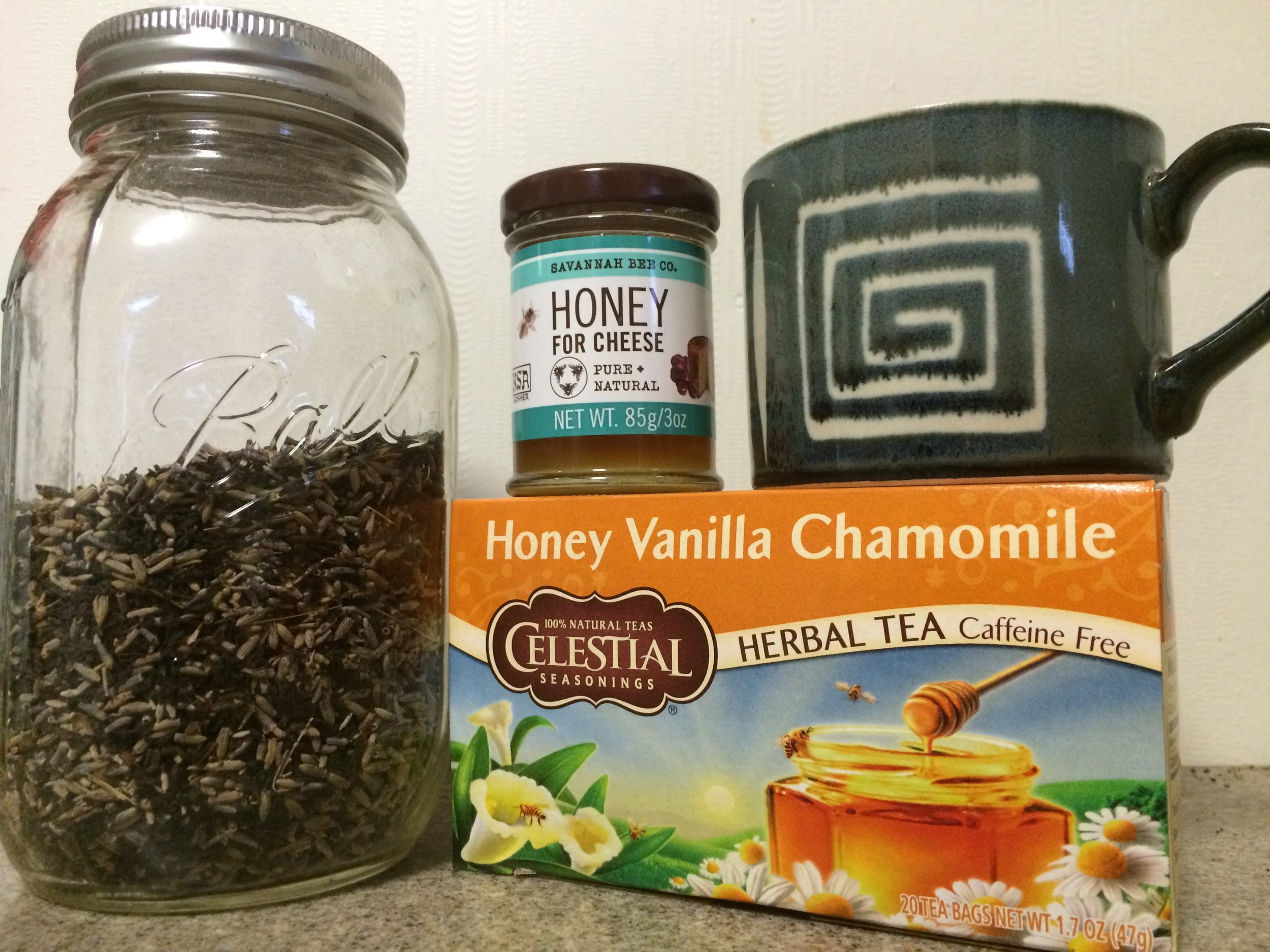 My fave blend of Twinings Earl Grey and Dried Lavender, tasty honey from the Savannah Bee Company and the deliciously calming Honey Vanilla Chamomile from Celestial Seasonings.