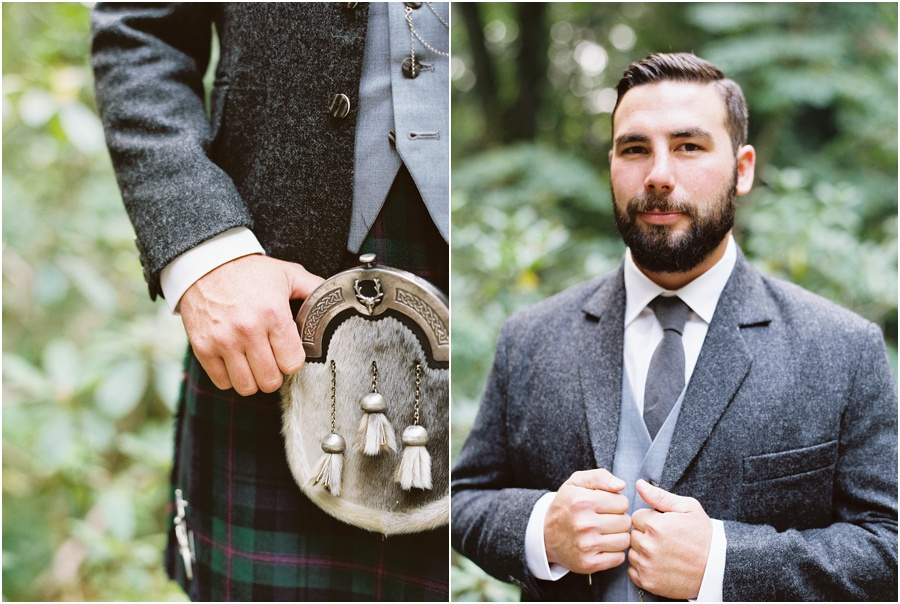 This Scottish groom was clothed in a traditional wedding tartan kilt, fur sporran, celtic garter flashes and sgian dubh knife.