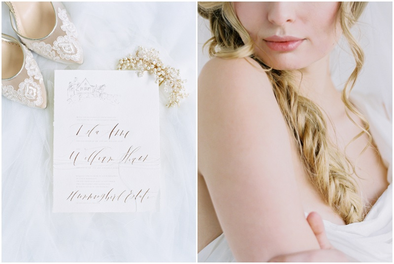 Calligraphy invitations and bridal style from an intimate garden wedding at a private vineyard estate in Jacksonville, Oregon.