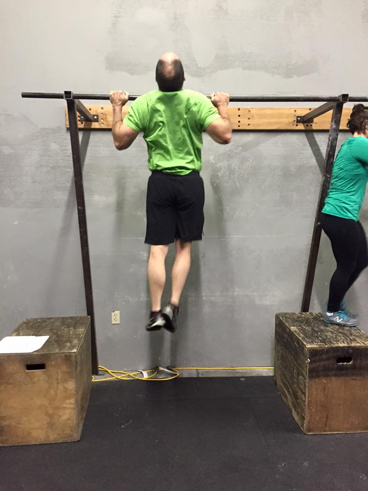 Mike J. hoping to get at least 1% better at chest to bar pull-ups.
