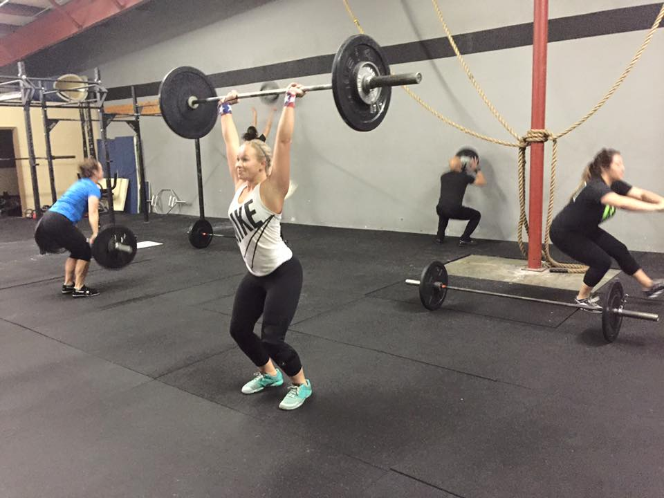 Mikayla getting after some Push Jerks, with the 7am crew!