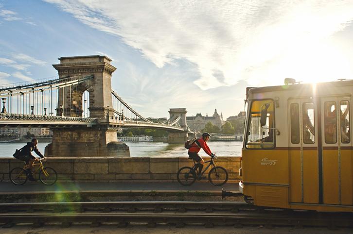 Chain bridge with tram Budapest