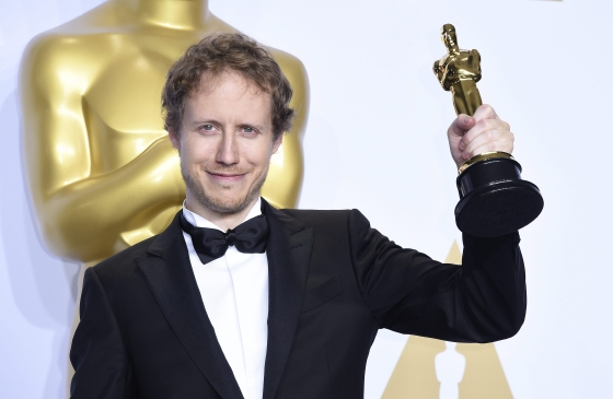 Laszlo Nemes Jeles with his Oscar