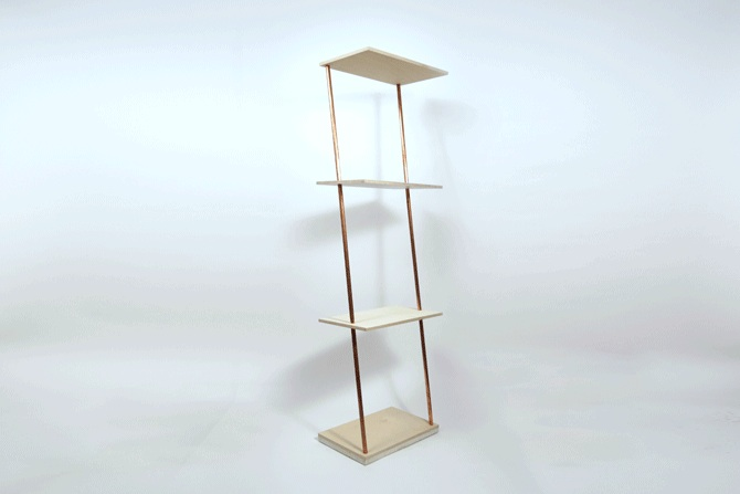 The Nothing Shelf, Waxed Baltic birch wood, finish variable, maximum height 5 ft, $480