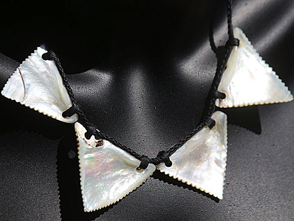18. Rei niho mango (sharkteeth) silver lipped pearl shell  $300.00