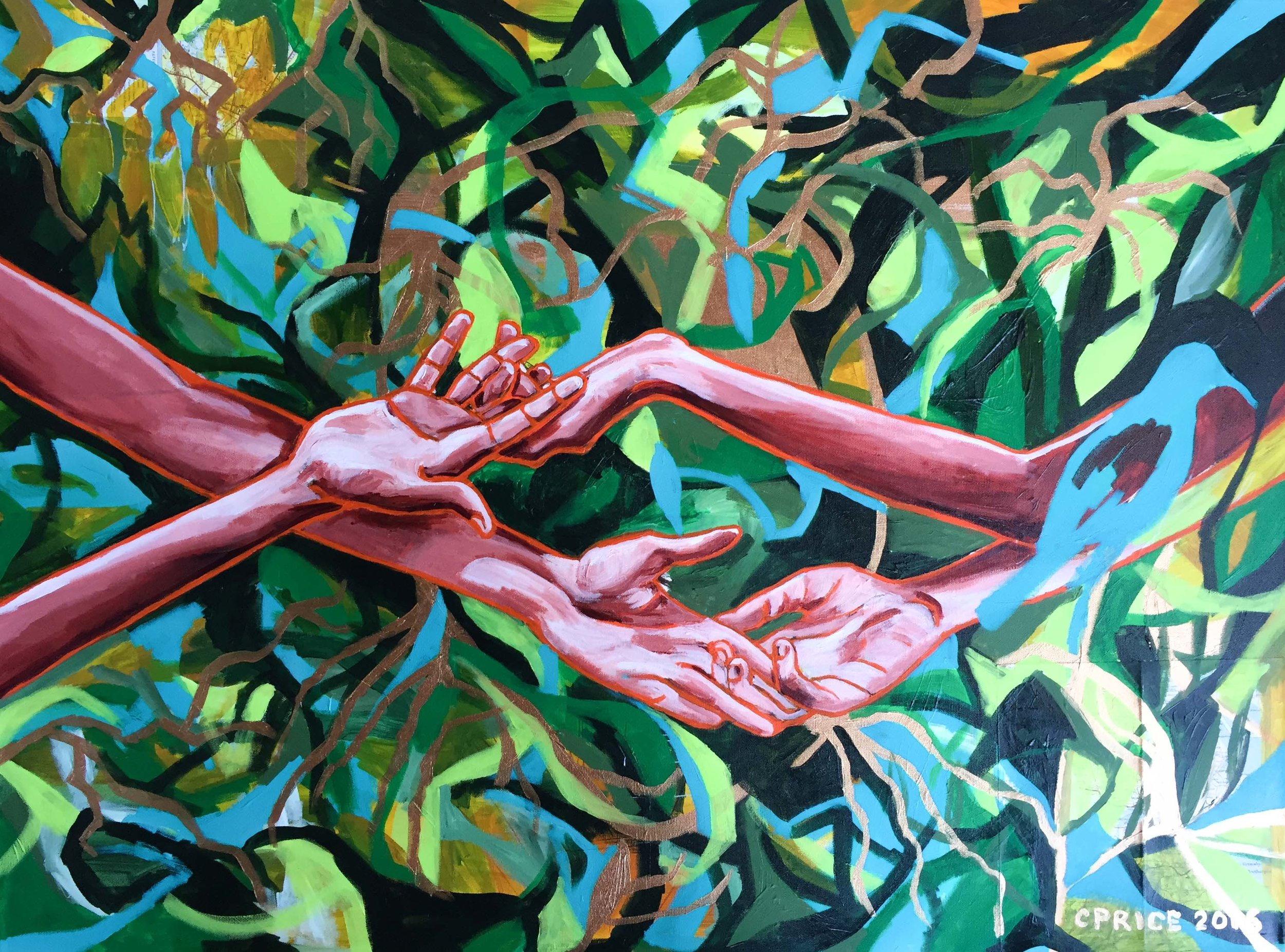 "HANDS UNITED  ACRYLIC ON CANVAS  30"" X 40""  $3350"
