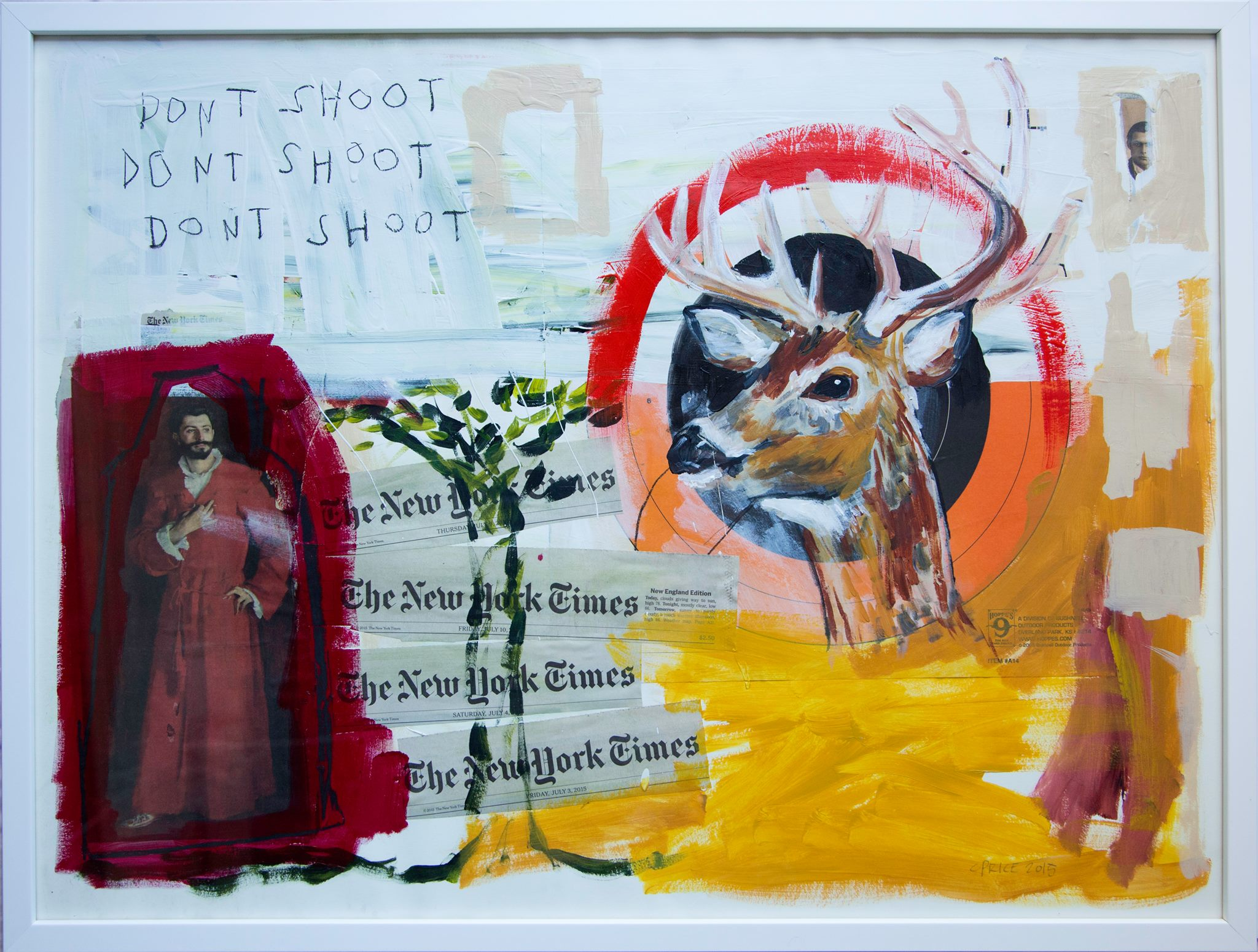 "DONT SHOOT  ACRYLIC & COLLAGE ON HANDMADE PAPER, FRAMED  23.5"" X 31""  $1700"