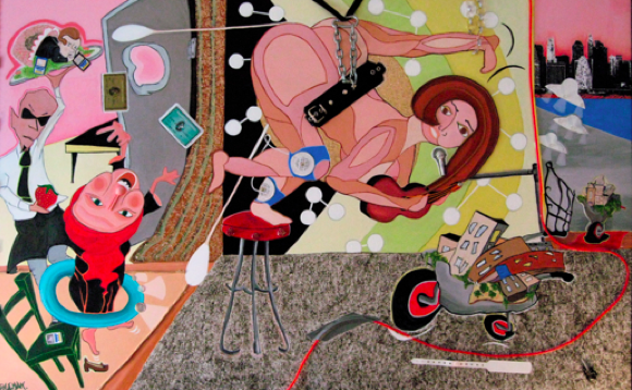 """Singer In New York (2008)    Acrylic on Canvas with fused objects  36"""" H x 60"""" W x 3"""" D inches   $5,500"""