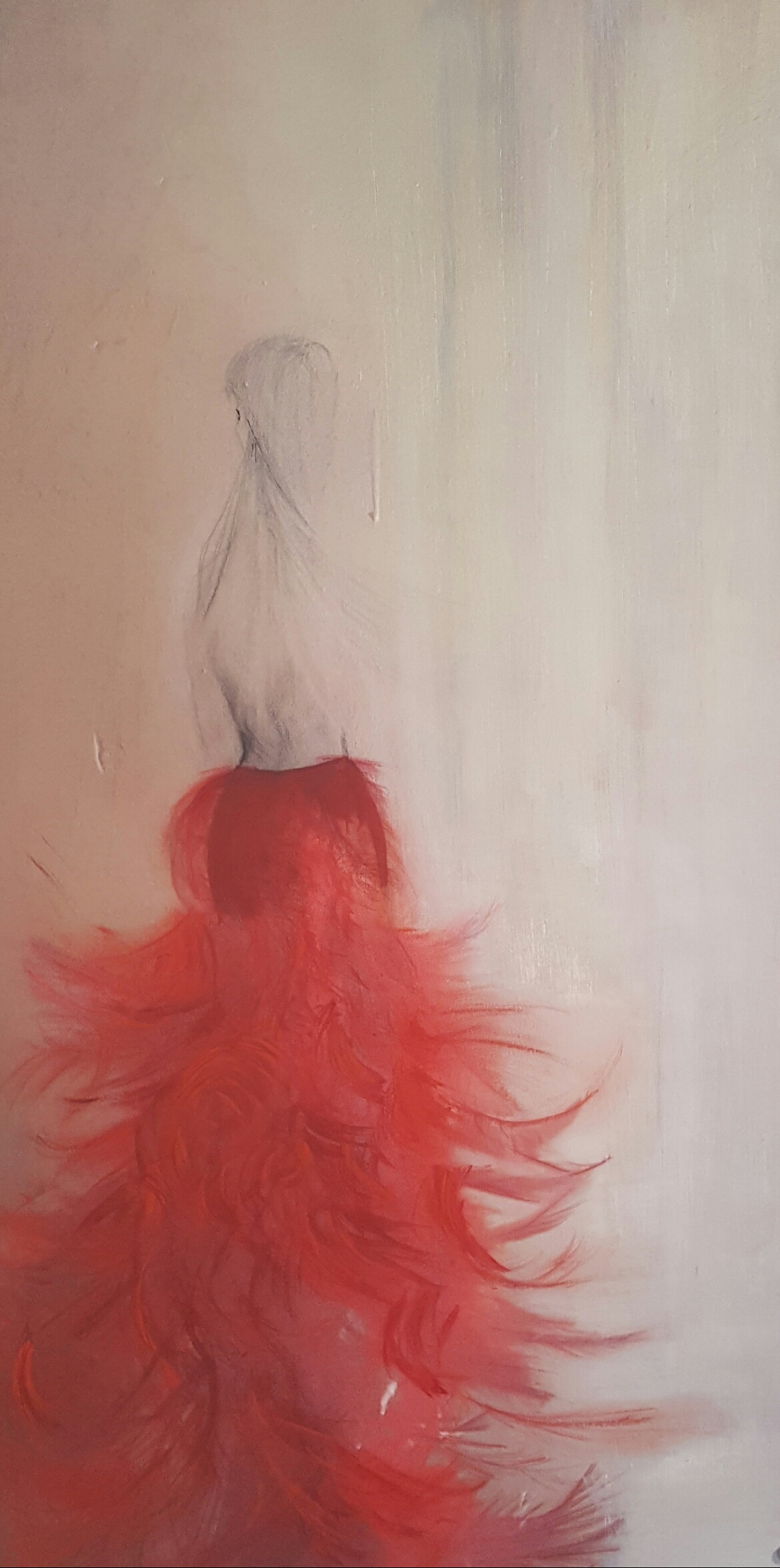 Red Skirt, Mixed Media on Bristol Paper, 13 x 23.5 inches,  $300.00