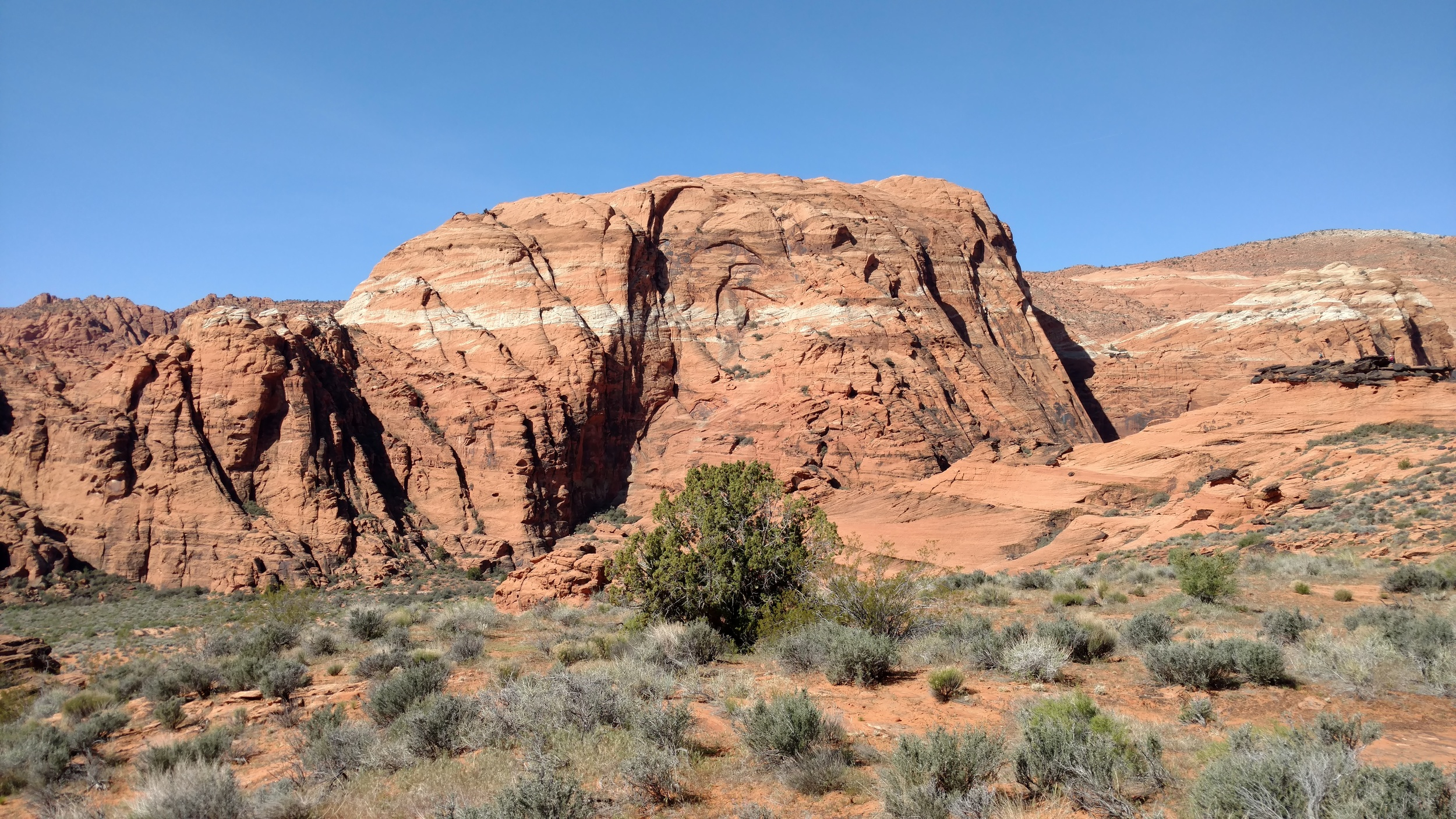 Pictograph Mountain as seen on approach near the junction of Three Ponds trail, Overlook, and Petrified Dunes trails.