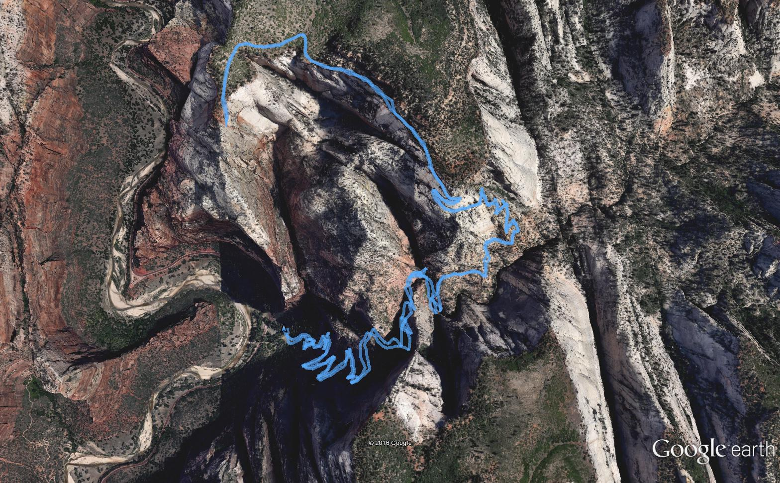 Google Earth view of entire route.