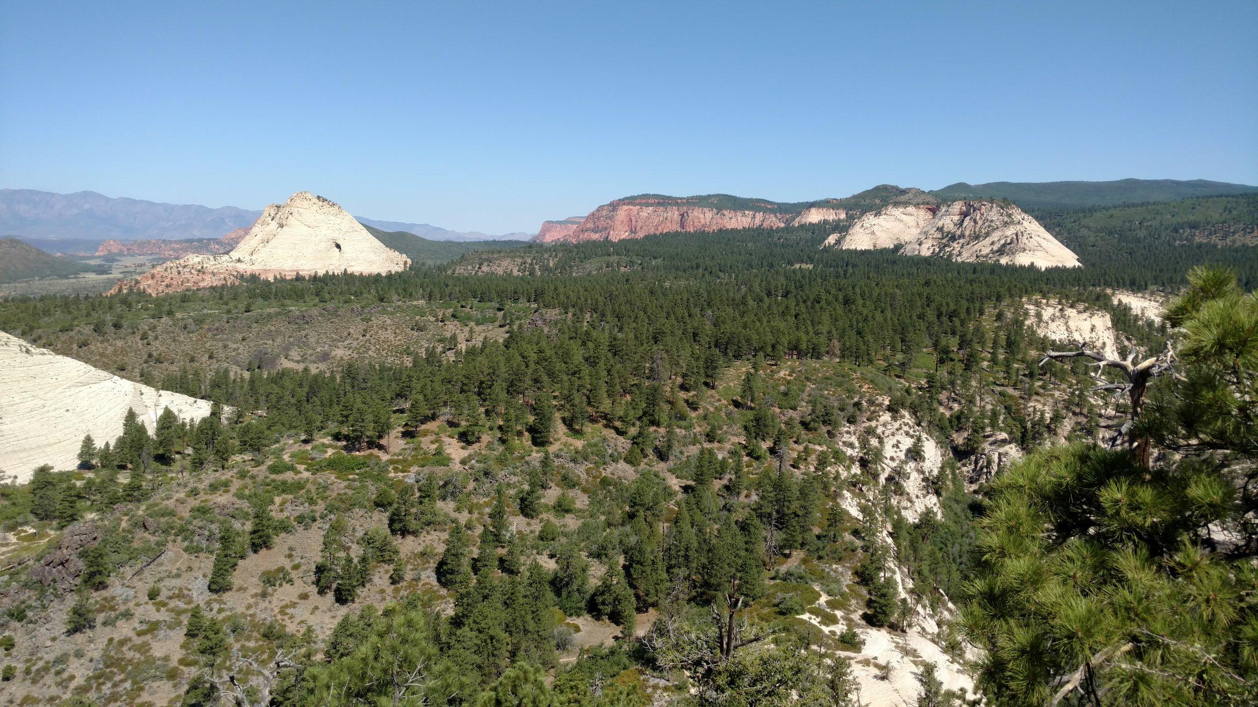 Peak to Peak view. Wildcat trailhead sits near the base of Pine Valley Peak (picture left)