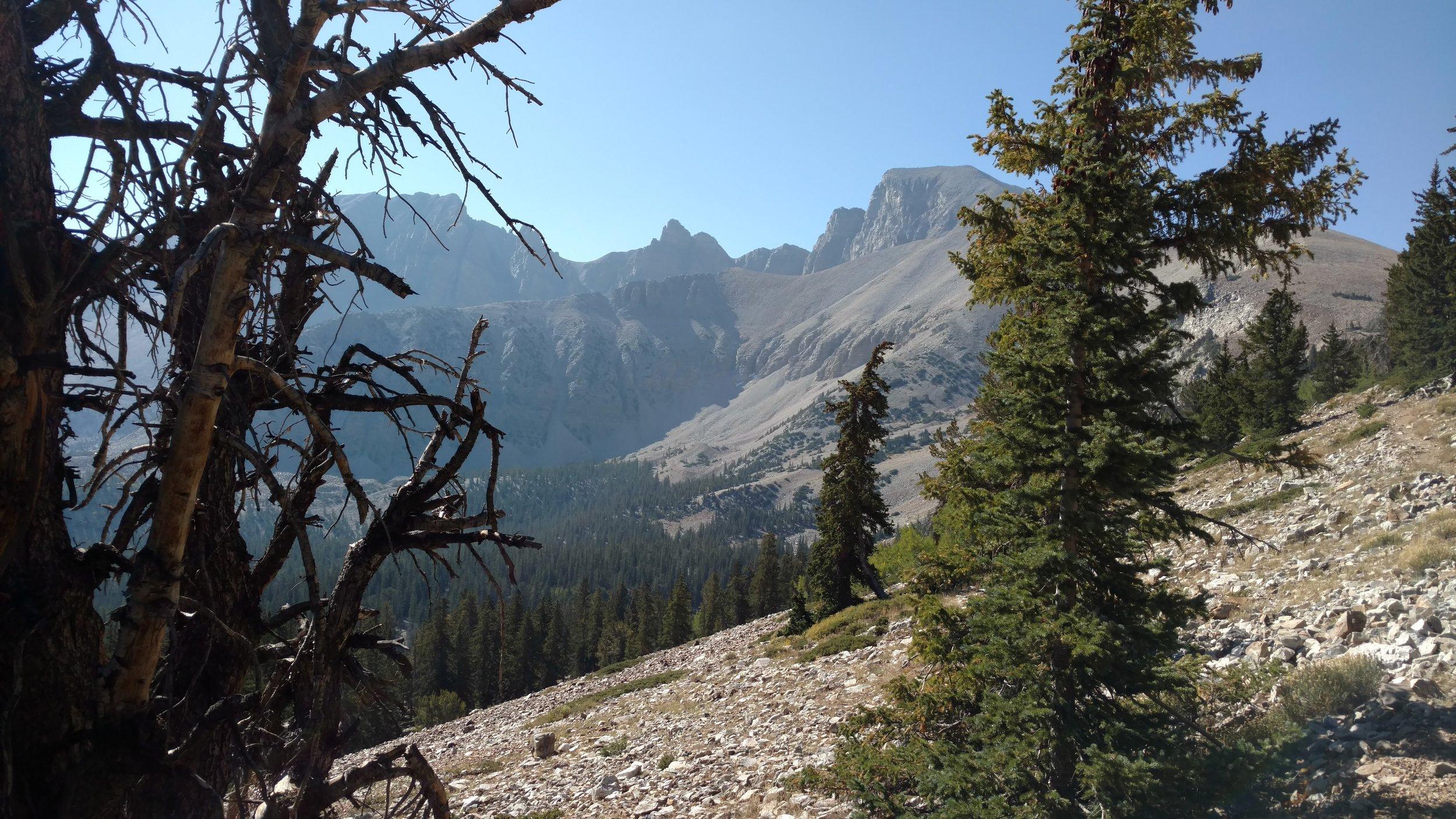 Trail view of peaks near ridgeline