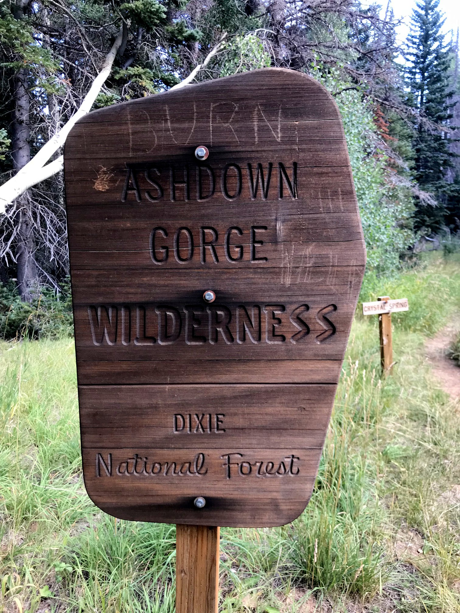 Someone felt the need to deface the sign after last years wild fires