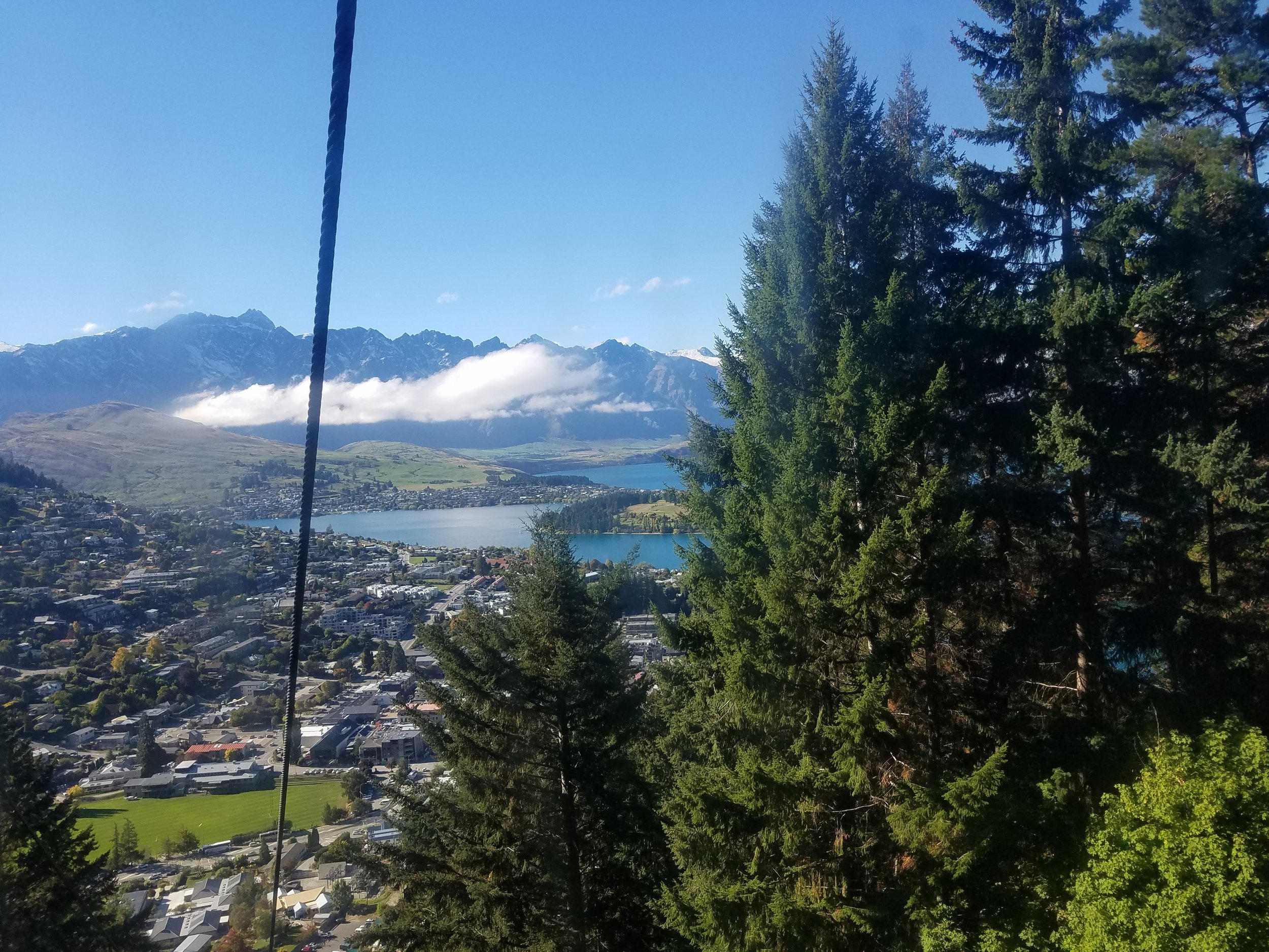 Gondola view west. The Remarkables cut the distant horizon.