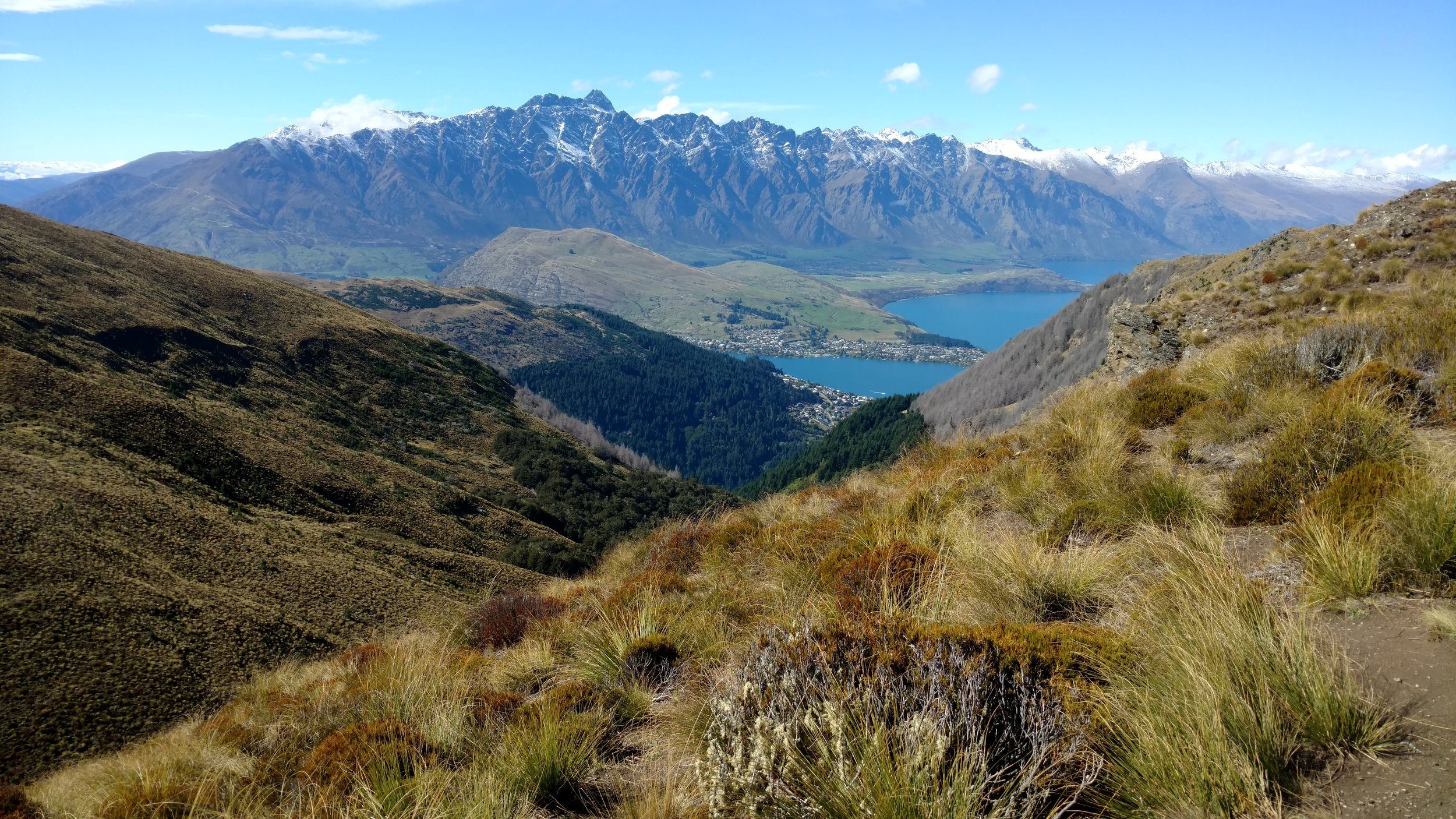 Ridgeline trail view of Queenstown