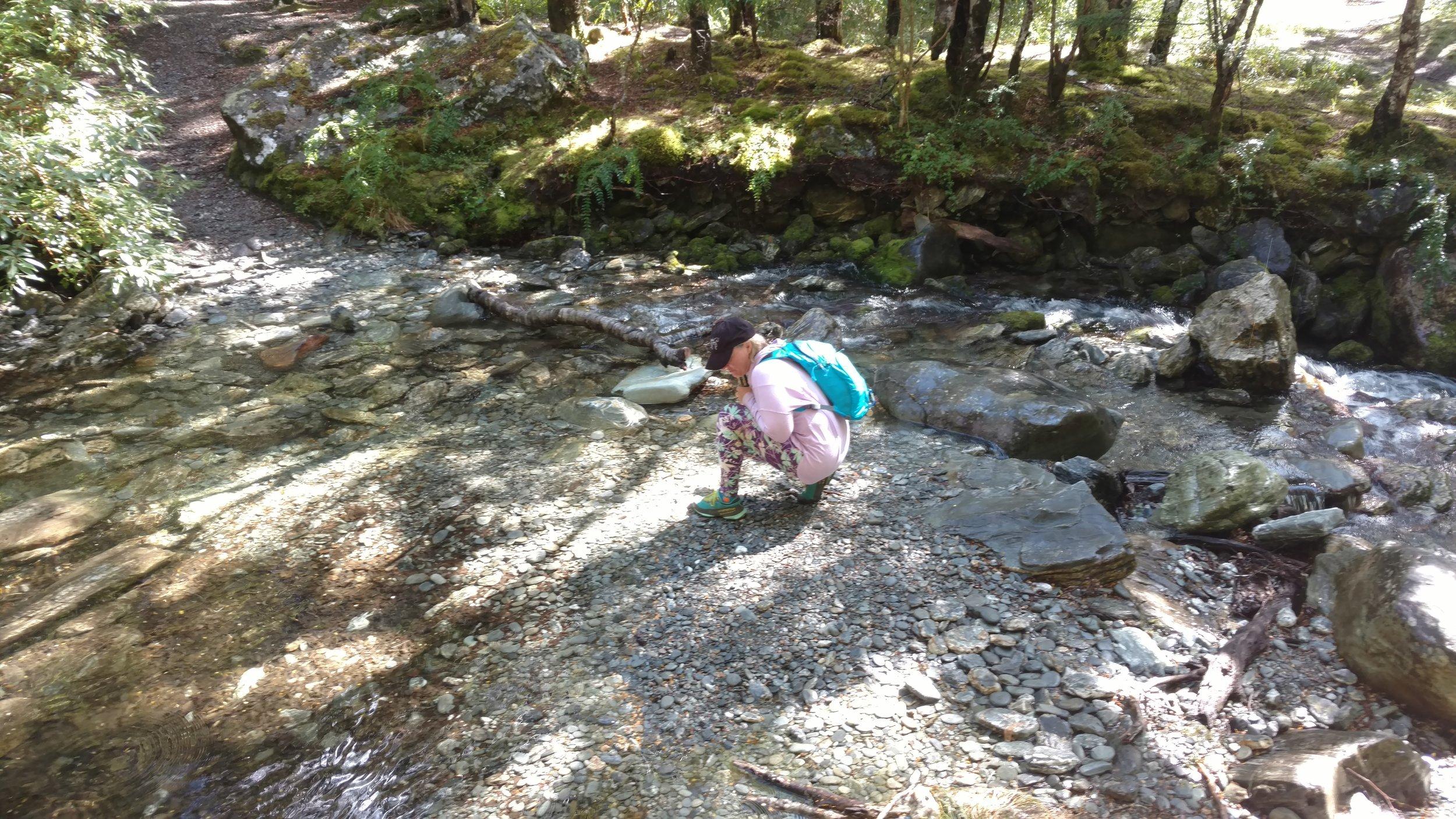 Below the bridge, Linda looking for potential stones