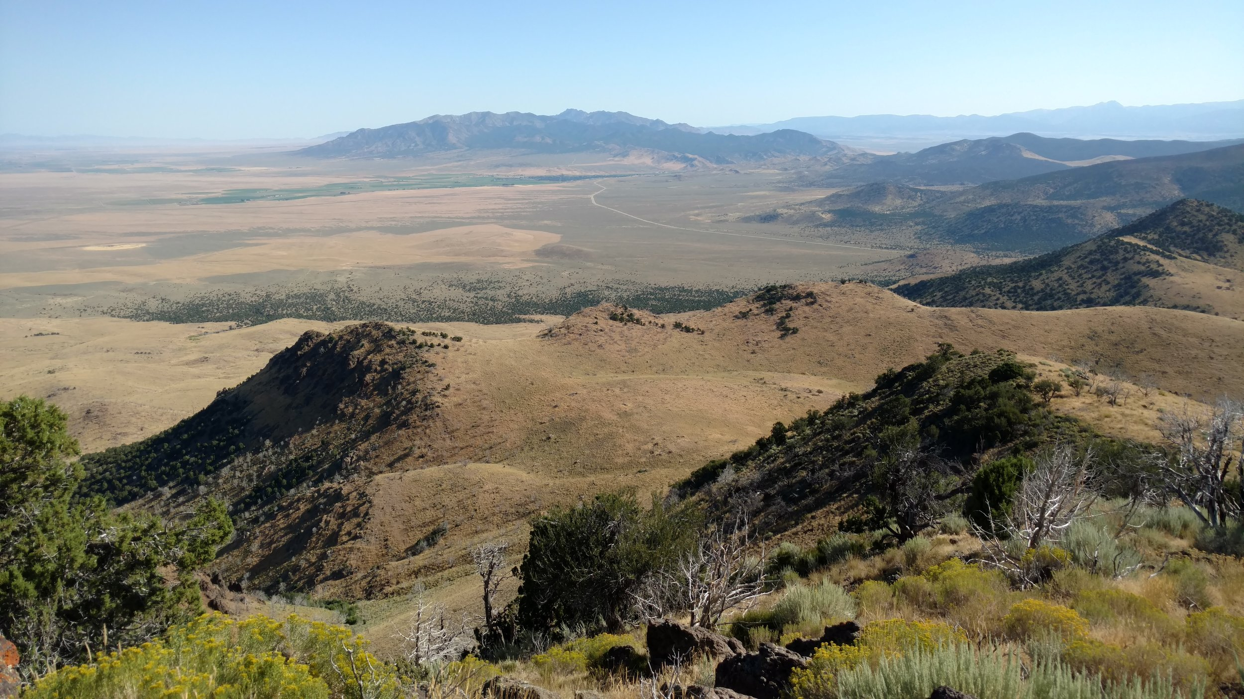 Dry Willow Peak summit view north toward the town of Minersville - UT