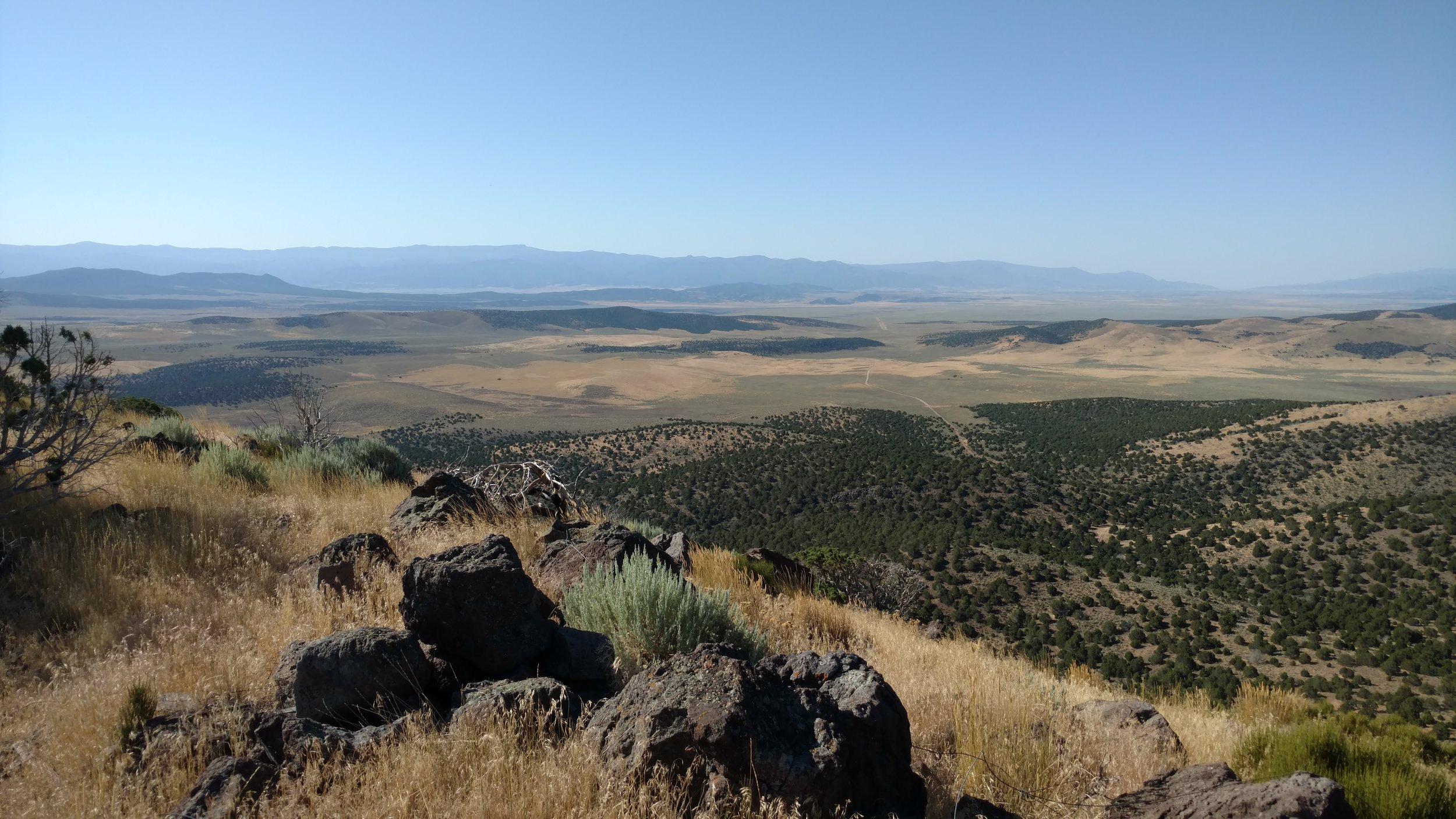 Dry Willow Peak summit view southeast toward Cedar City - UT