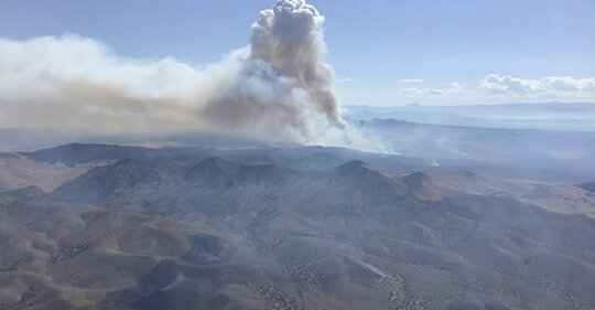 Neck fire located in the Black Mountains (photo downloaded from utahfireinfobox.com)