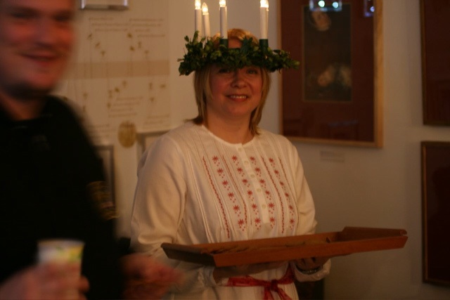 Editor's note: In many European nations, December 13th marks the annual Saint Lucia Day, a holiday devoted to Italian Saint Lucy (or Santa Lucia), the bearer of light. Finns commemorate the occasion by electing a local young woman to serve as an 'official' Lucia and lead an annual parade in the Helsinki city center. In the Scandinavian tradition, Lucia wears a white dress, a red sash around her waist and a crown of candles.