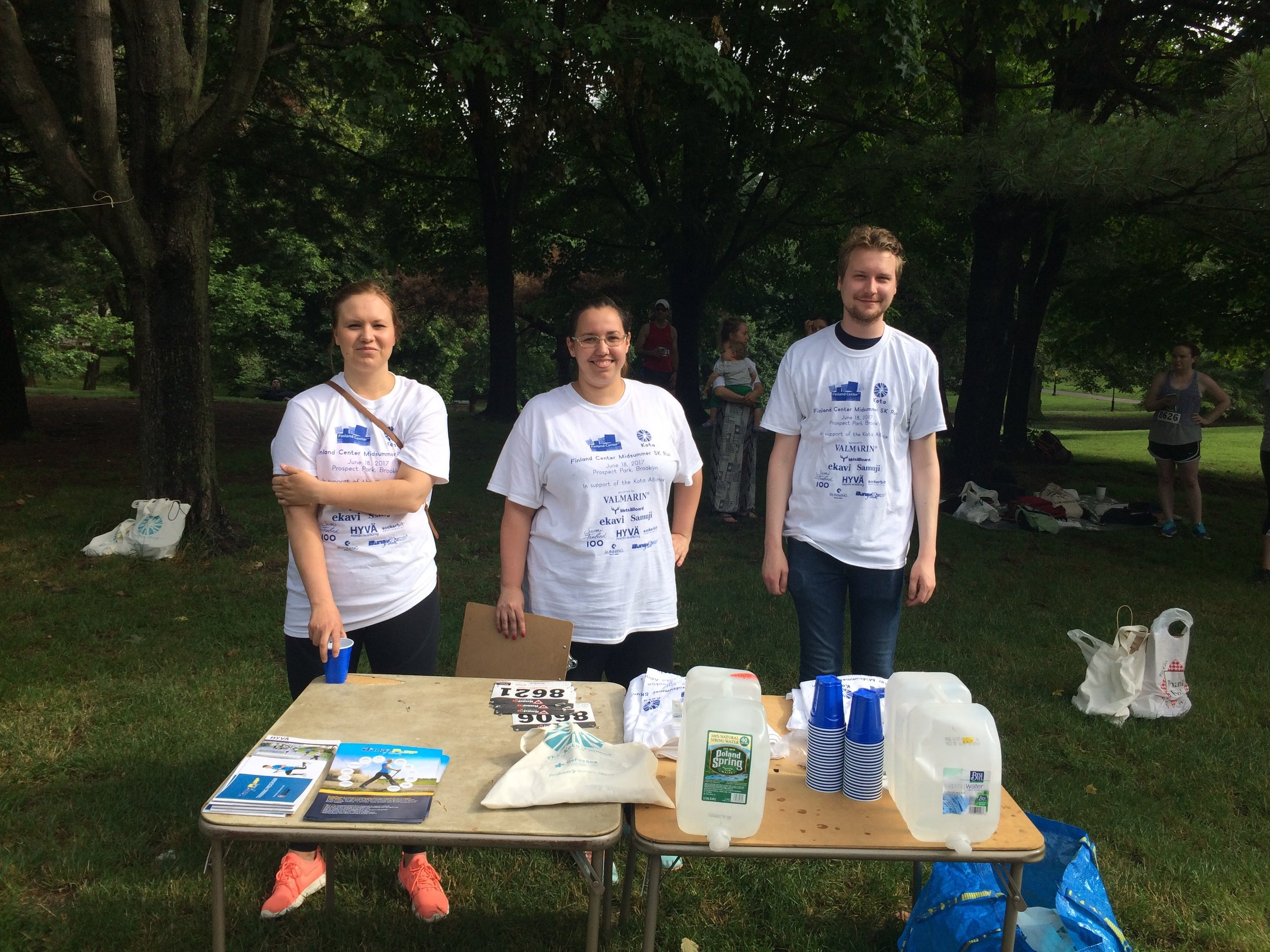 Our happy volunteers ready to serve some refreshments for the participants of our annual Midsummer 5K Run in Porspect Park, Brooklyn.