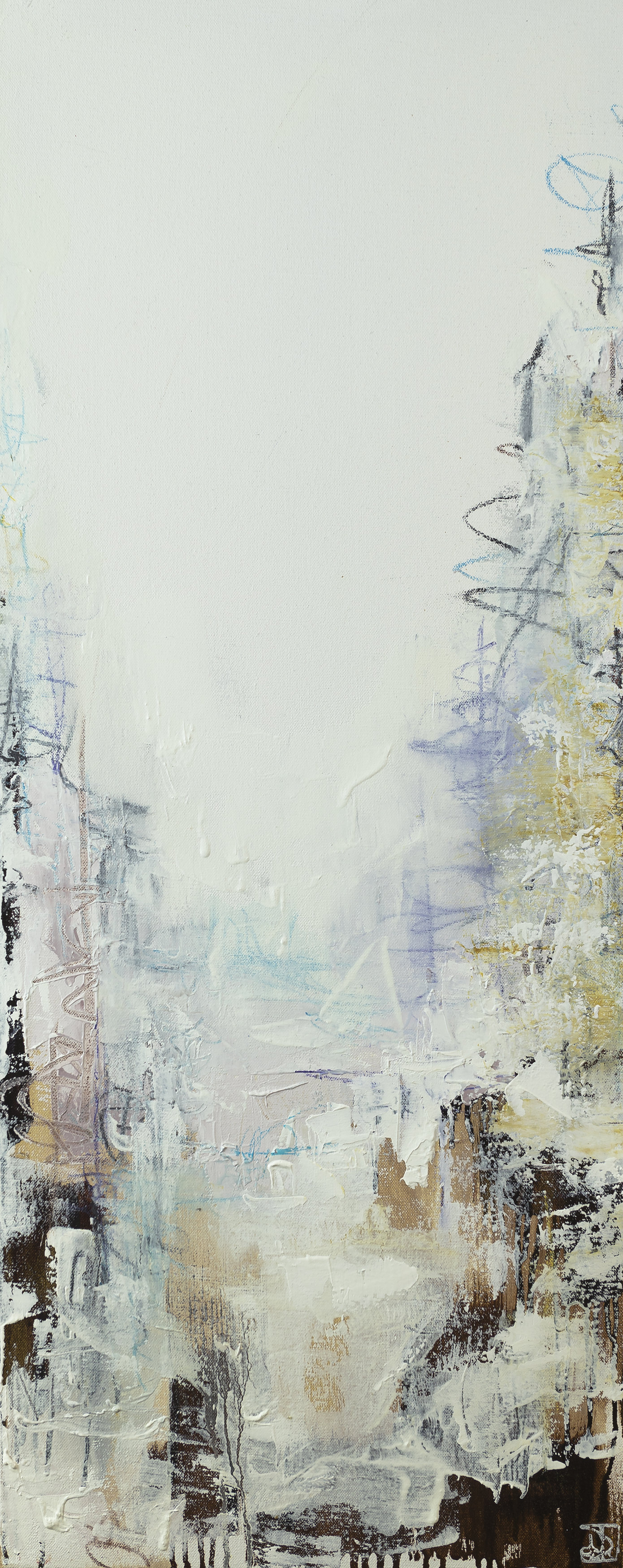 "'Secrets of The Fog' triptych Oil and pastel on canvas 16"" x 40"" (X3)"