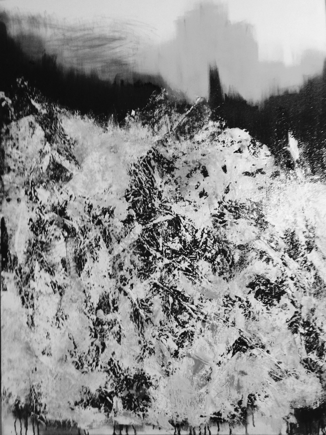 Black and White image of the painting in progress to share with my client who is partially colorblind.