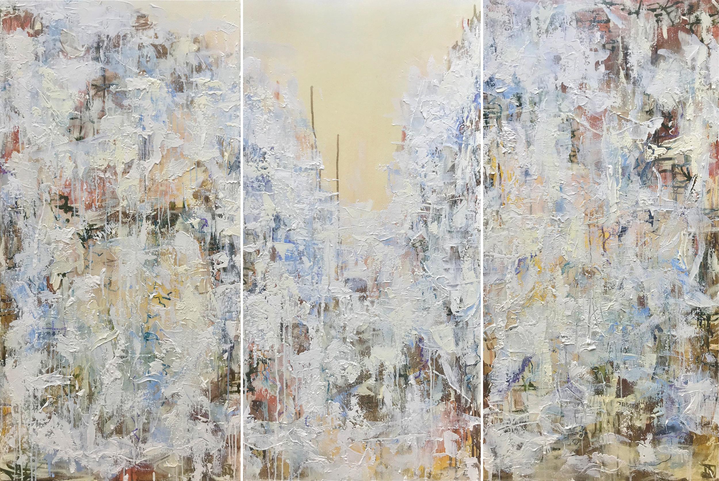 "'Secrets of the Fog in Springtime'   18"" x 36"" (x3) | Oil on Canvas"