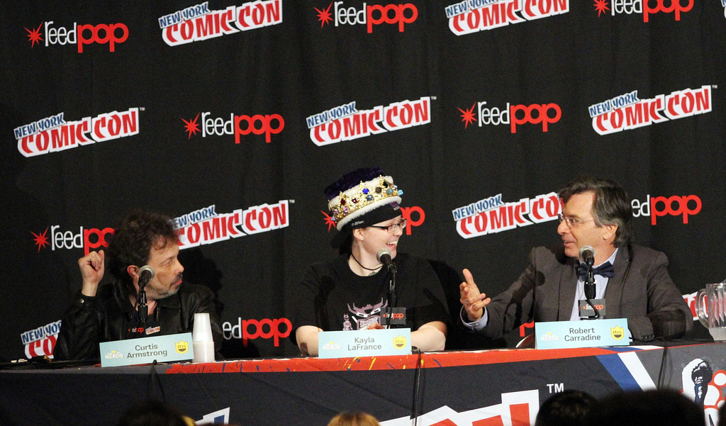 Kayla at New York Comic Con 2014 with Curtis Armstrong and Robert Carridine